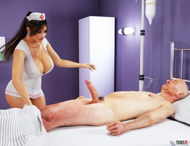 Порно 3D секса медсестры с огромными сиськами