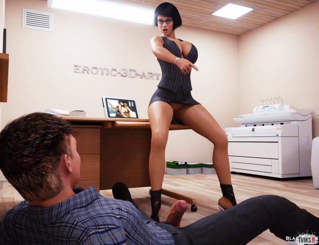Сексуальная секретарша трахается в офисе в порно 3D