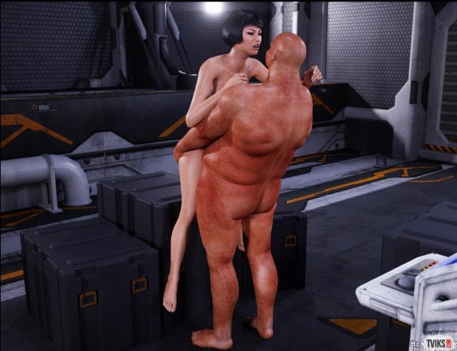 Брюнетка с бритым влагалищем из порно 3D ебётся голая