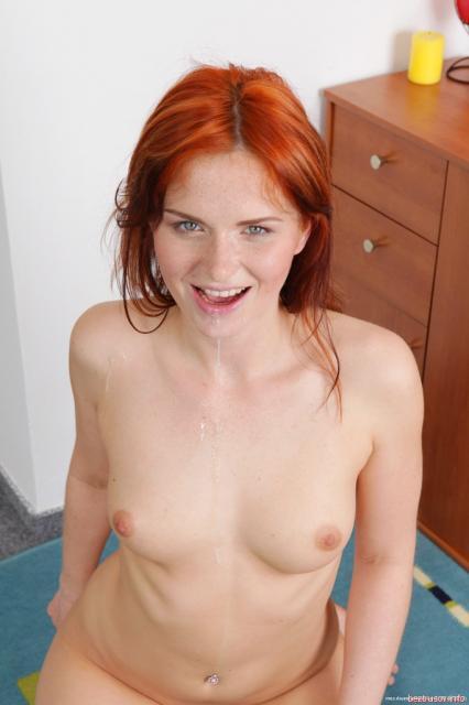 Оральный секс с развратной ненасытной рыжей телкой