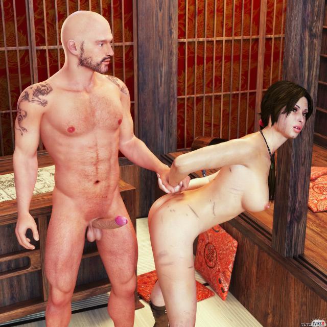 3D порно в тюремной камере с голой брюнеткой без трусов
