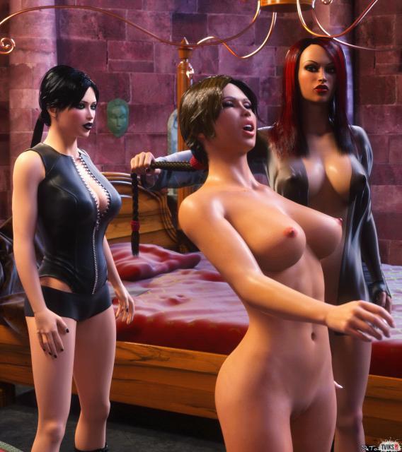 Голые бабы со страпоном и один транс в 3D порно трахаются