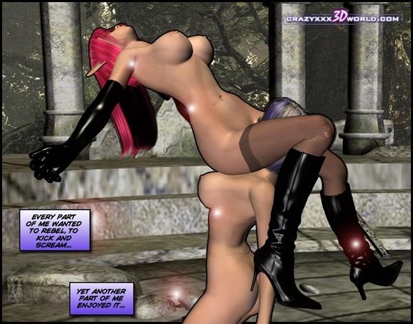 На порно 3D лезби вылизывают писи друг друга